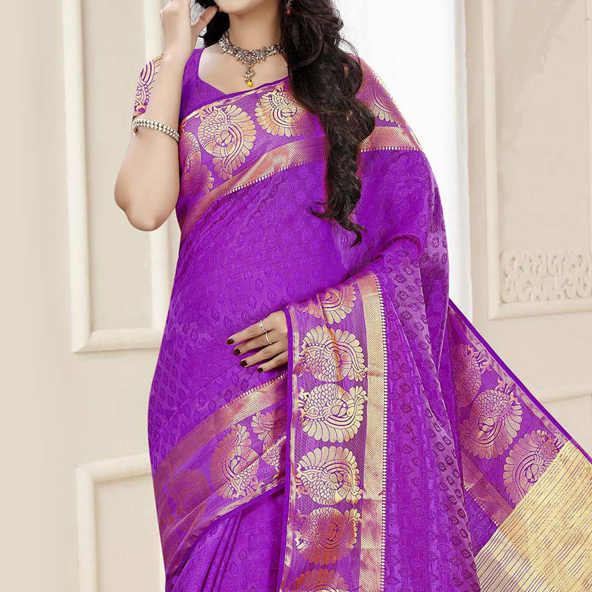 Purple Border Work Saree