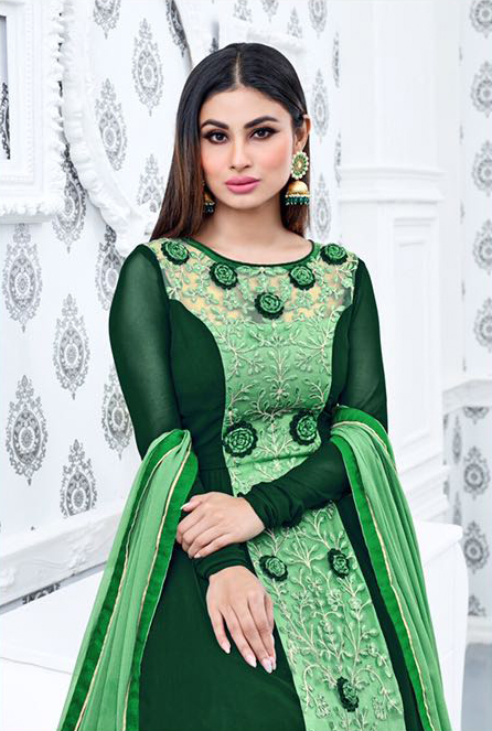Green Heavy Embroidered Anarkali Suit