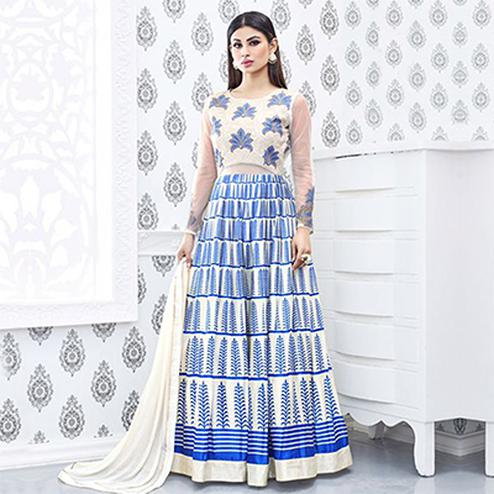 Cream - Blue Print & Embroidery Work Anarkali Suit