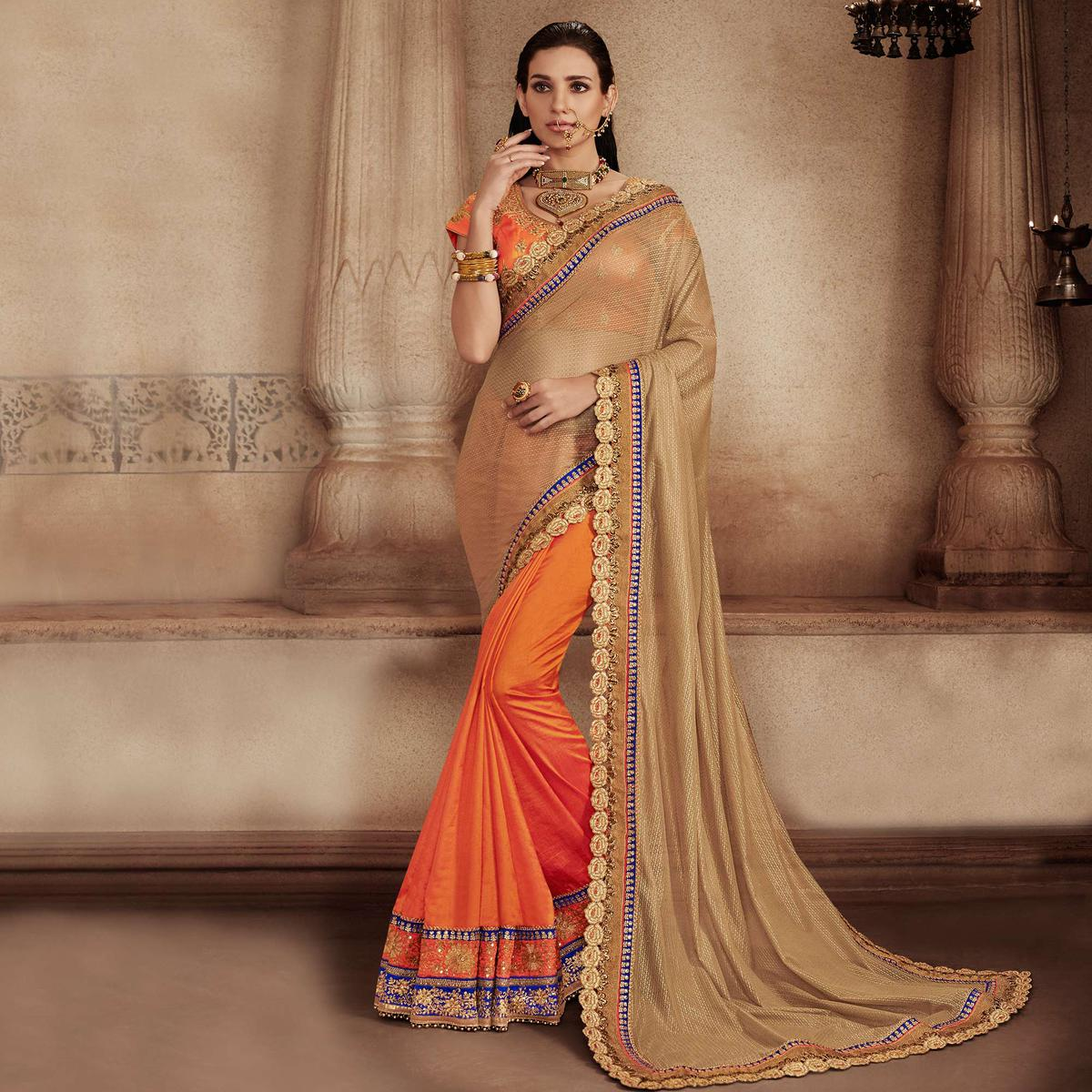 Beige - Orange Cut Work Border Wedding Saree