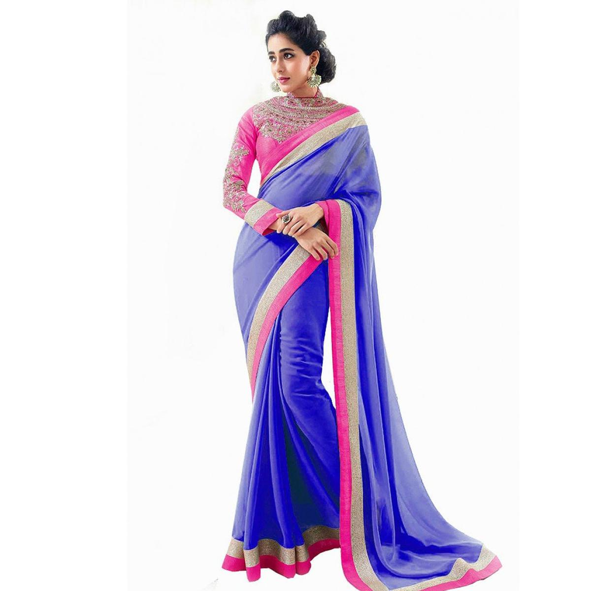 Blue Embroidered Work Georgette Saree