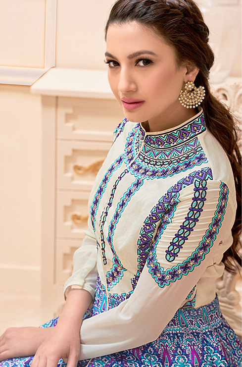 Cream - Blue High Neck Style Designer Suit