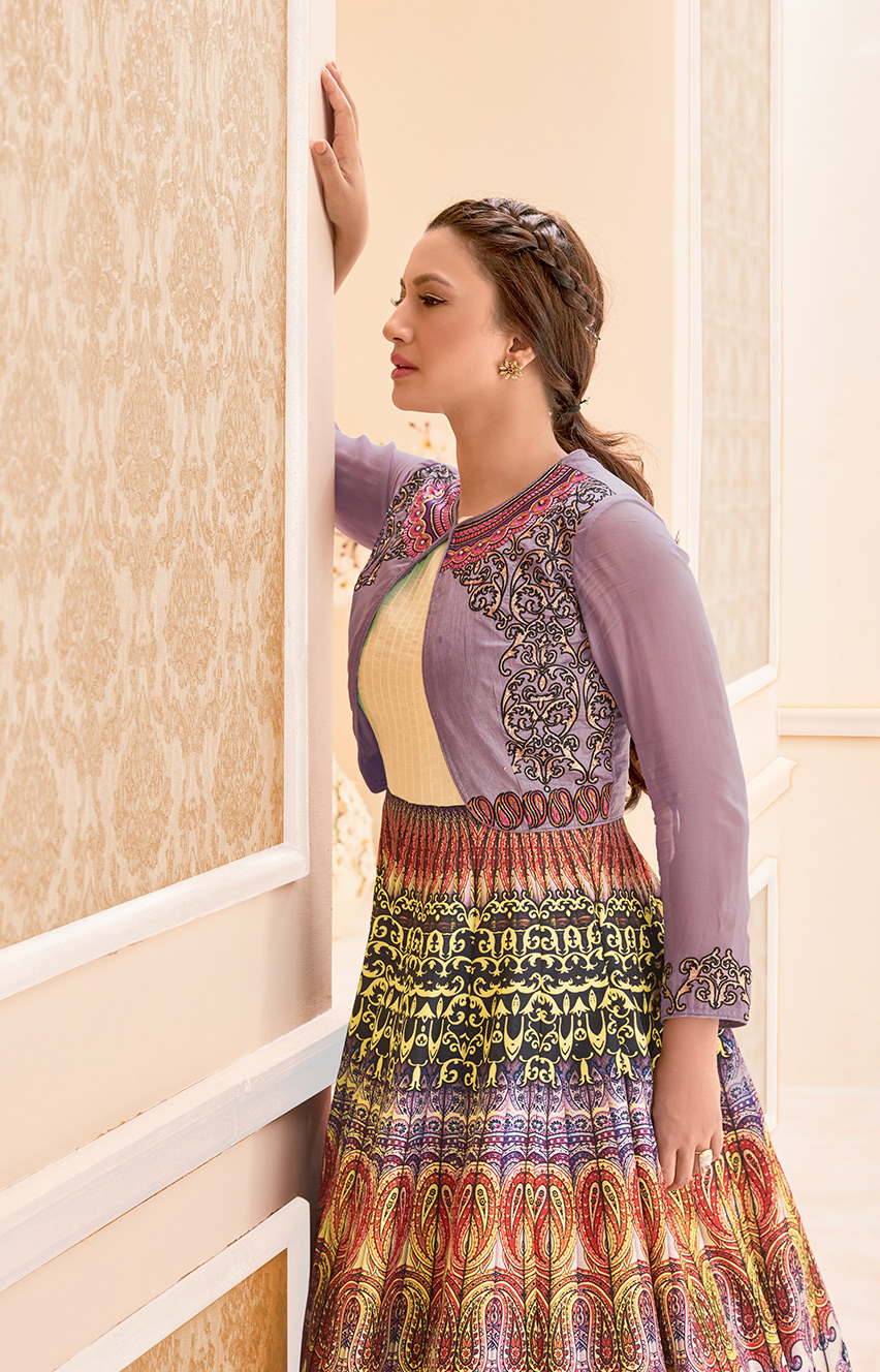 Multicolored Banglori Silk Anarkali Suit