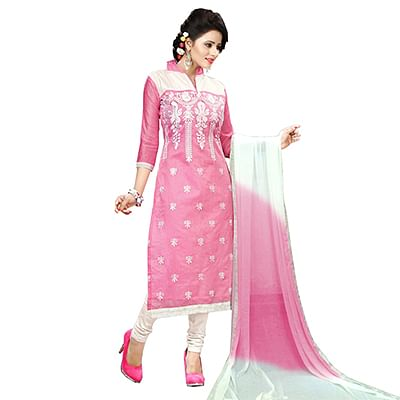 Pink - White Chanderi Salwar Suit