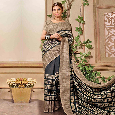 Beige - Black Bhagalpuri Silk Saree