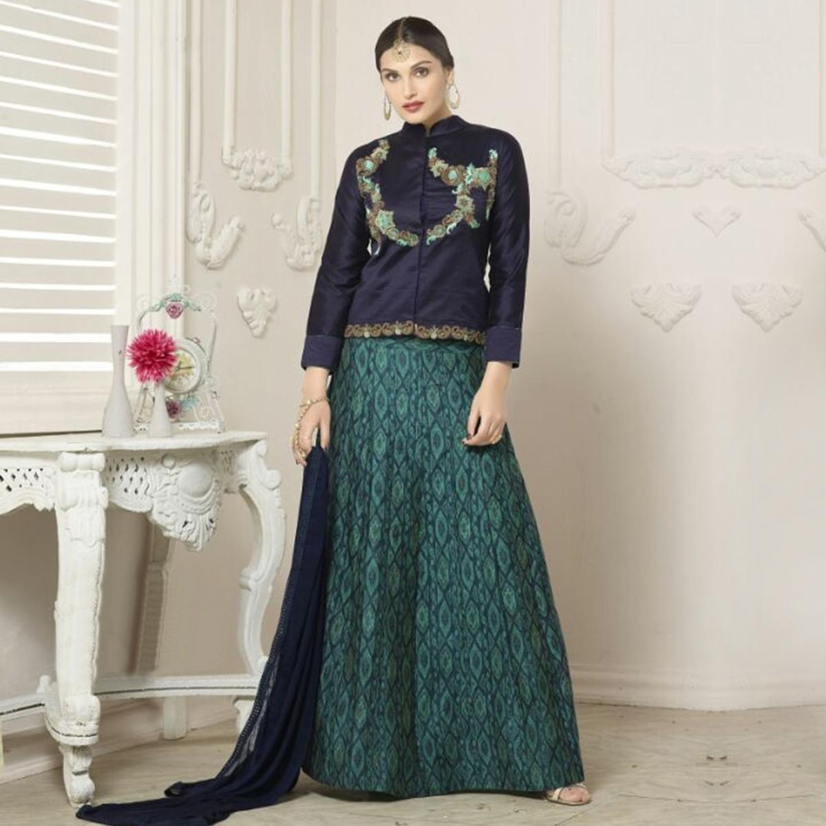 Green Lehenga with Full Sleeves Choli