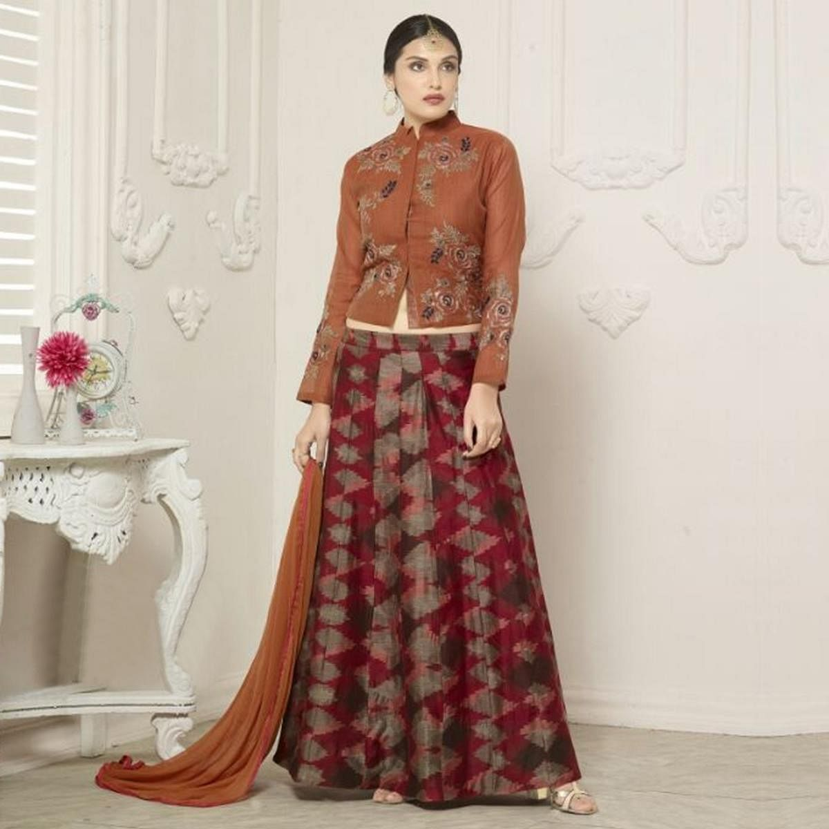 Red Lehenga with Full Sleeves Choli