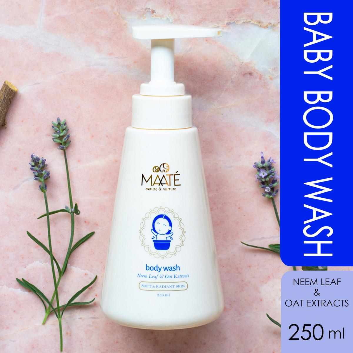 MAATÉ Baby Body Wash-Contains Oat-Neem and Licorice Extracts-Moisturising and Soap Free-250 ML