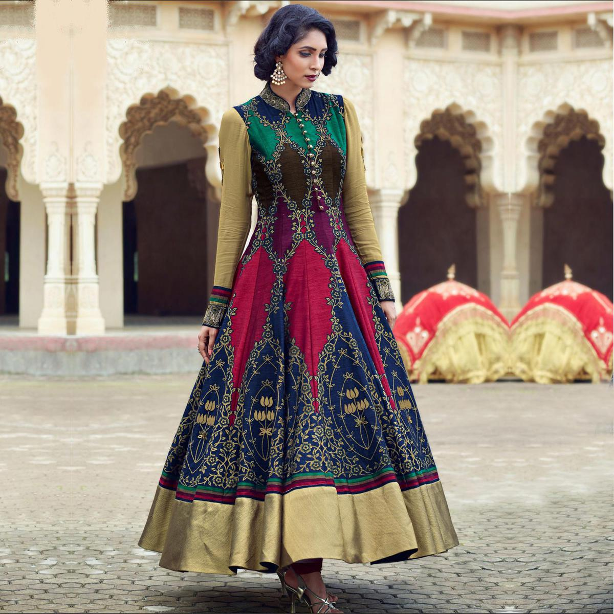 Multicolored Party Wear Anarkali Style Gown