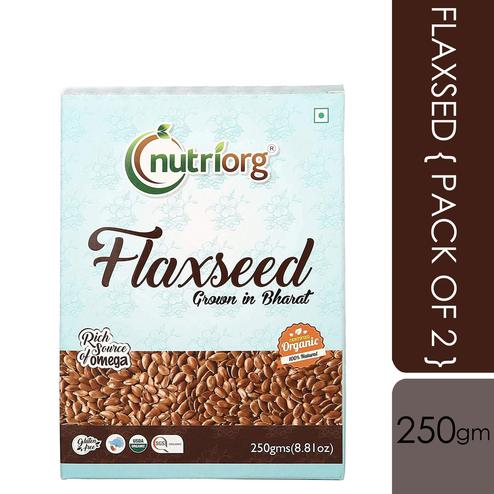 Nutriorg Organic Flaxseed Raw 250g (Pack of 2)