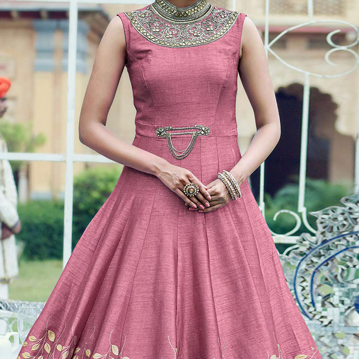 Pink Banglori Silk Stitched Gown