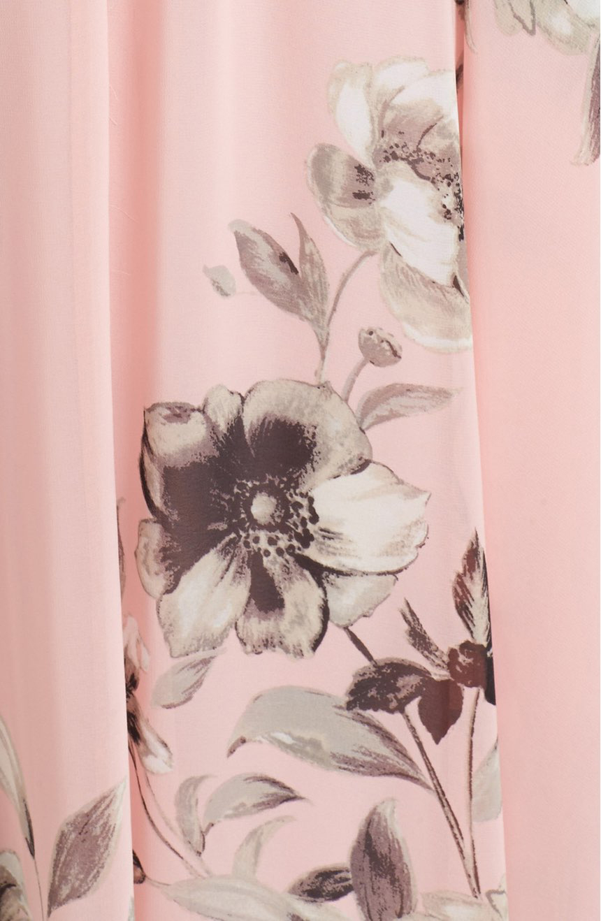 Light Pink Floral Print Gown