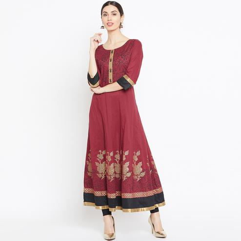 Adorable Maroon Colored Party Wear Printed Cotton Long Kurti
