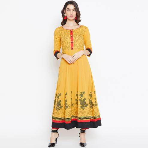 Glorious Light Orange Colored Party Wear Printed Cotton Long Kurti
