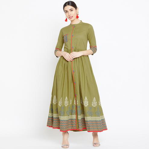 Attractive Green Colored Party Wear Printed Cotton Long Kurti