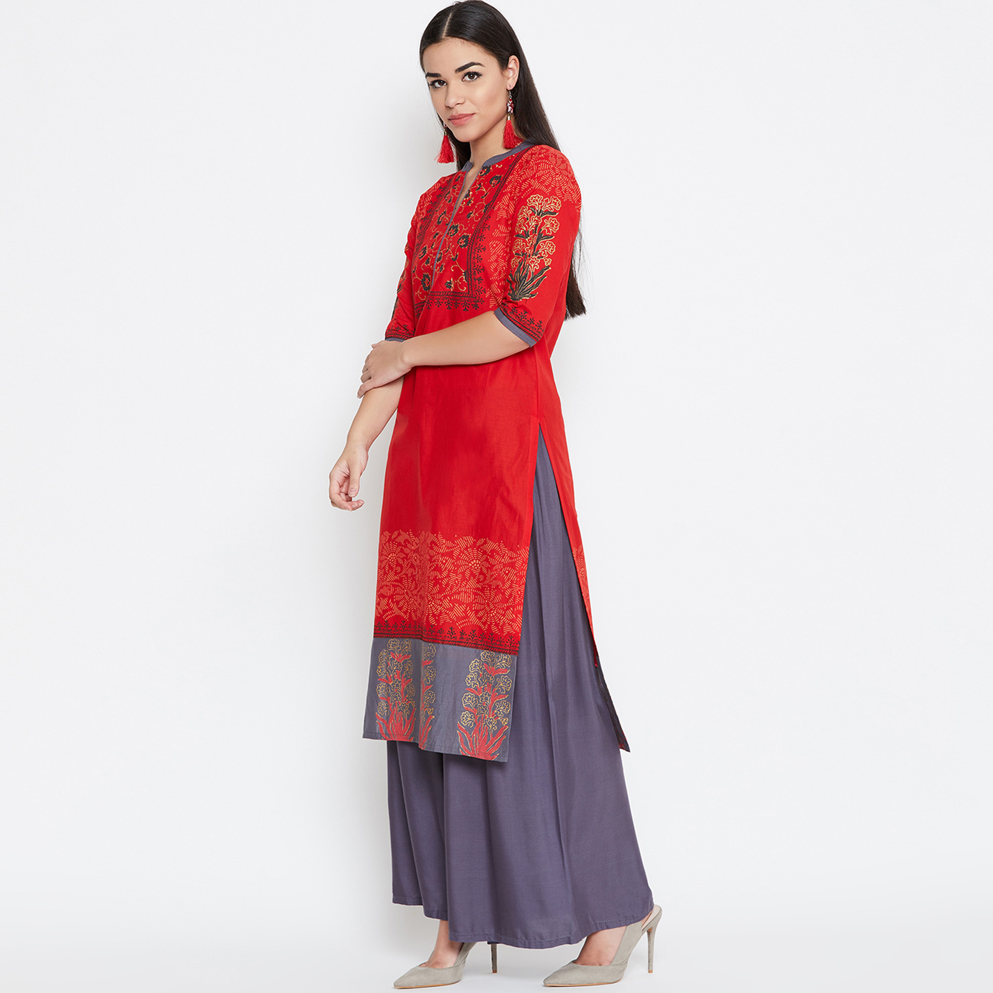 Jazzy Red Colored Casual Wear Printed Cotton Kurti
