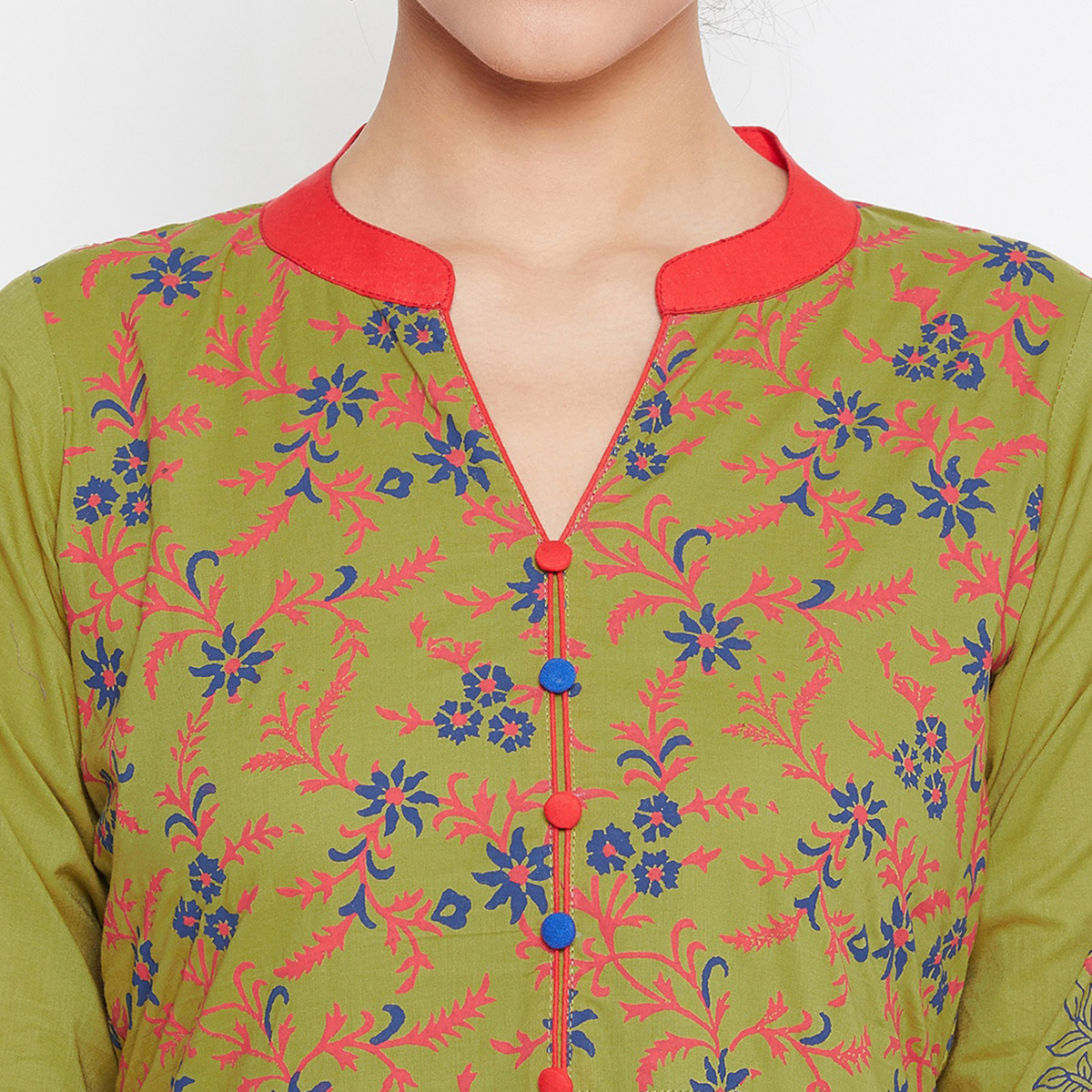 Engrossing Green Colored Party Wear Printed Cotton Long Kurti