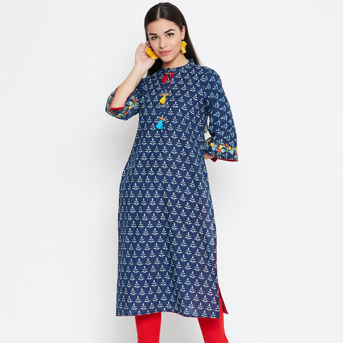 Captivating Blue Colored Casual Wear Embroidered Cotton Kurti