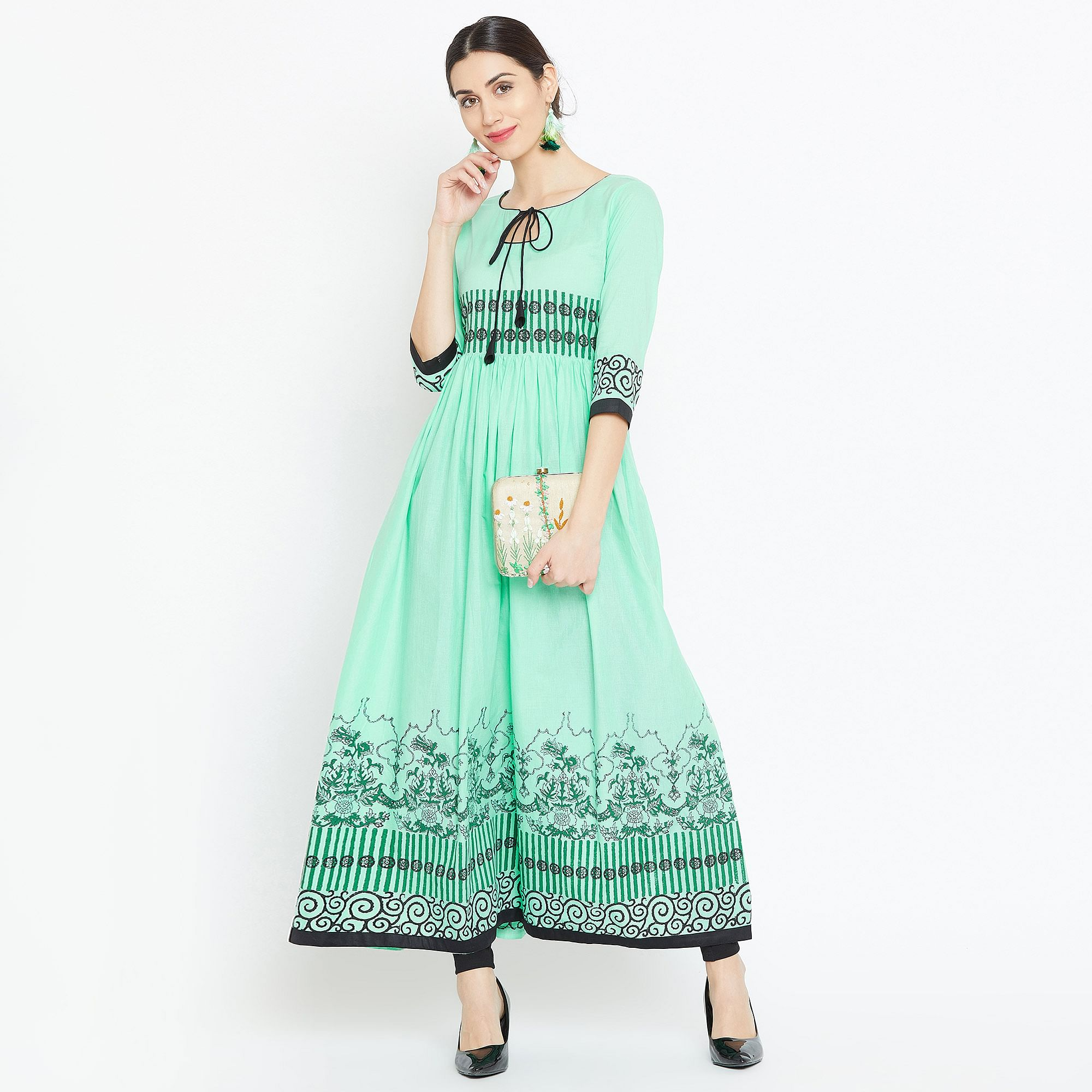 Innovative Mint Green Colored Party Wear Printed Cotton Long Kurti
