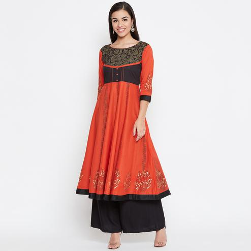 Eye-catching Orange Colored Party Wear Printed Cotton Long Kurti