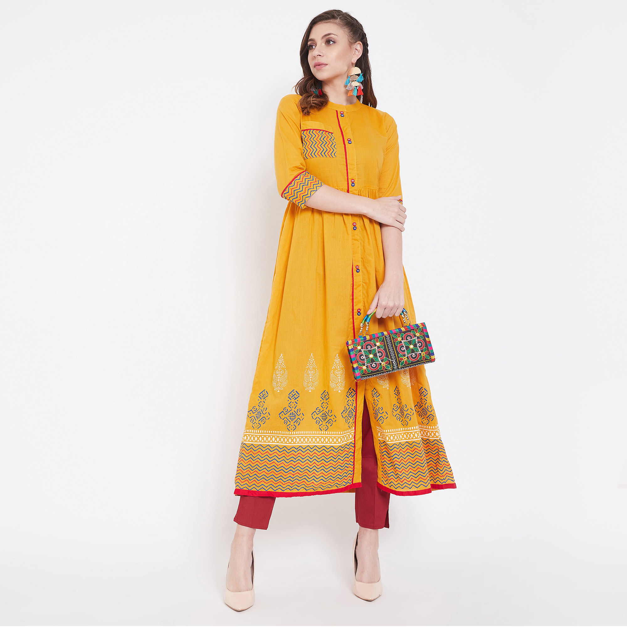 Fantastic Yellow Colored Casual Wear Printed Cotton Long Kurti