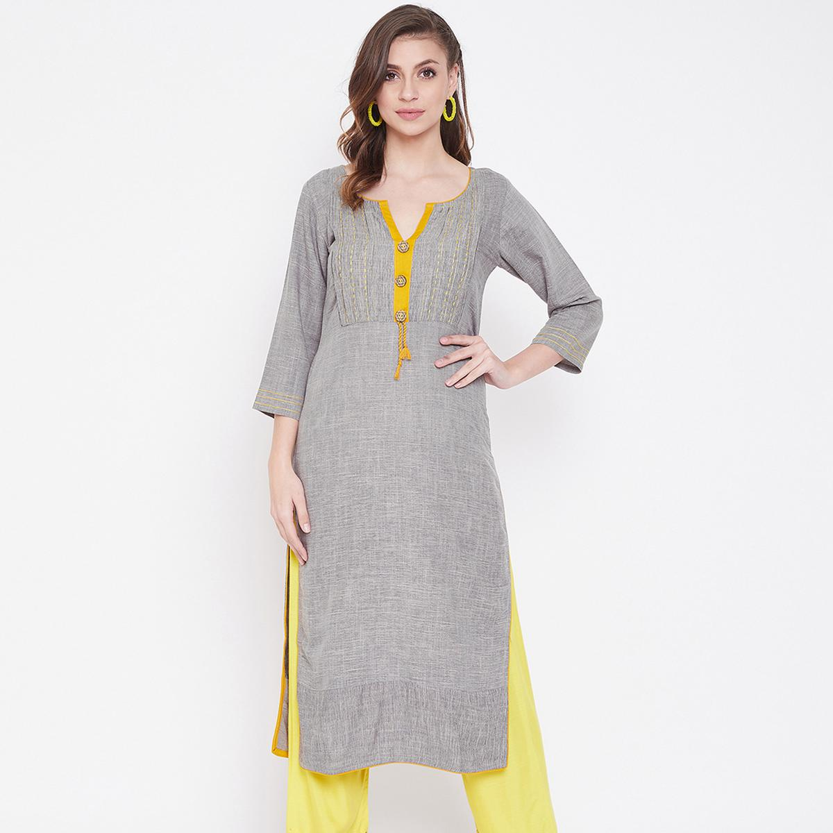 Amazing Grey Colored Casual Wear Printed Cotton Kurti