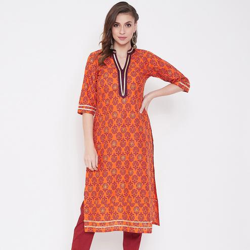Gorgeous Orange Colored Party Wear Printed Cotton Kurti