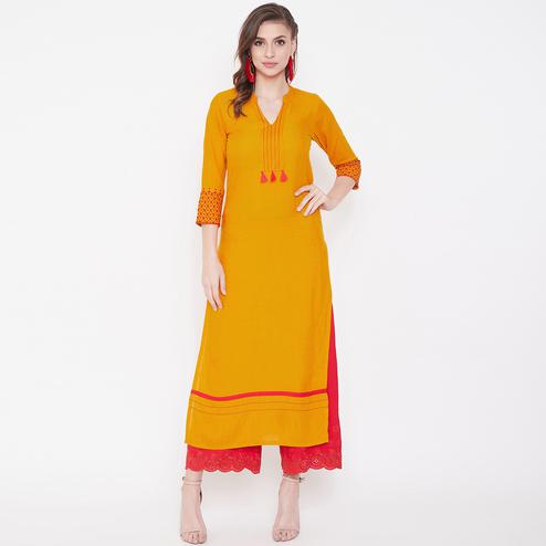Blissful Yellow Colored Casual Wear Embroidered Rayon Long Kurti