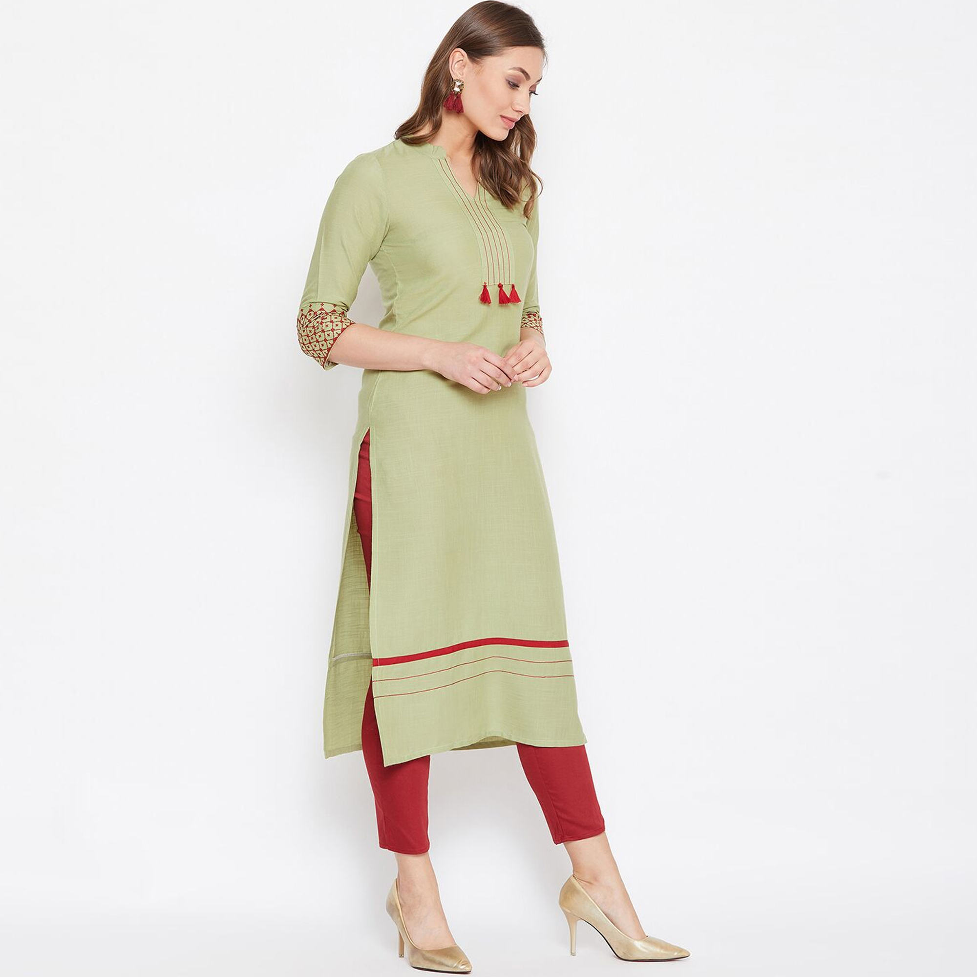 Ideal Green Colored Casual Wear Embroidered Rayon Long Kurti