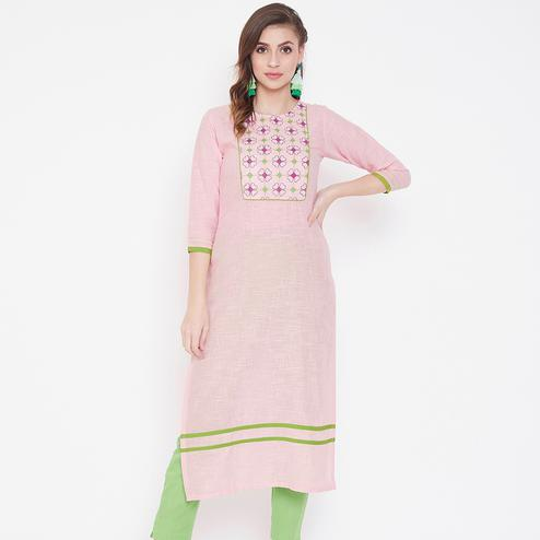 Imposing Pink Colored Casual Wear Embroidered Cotton Long Kurti
