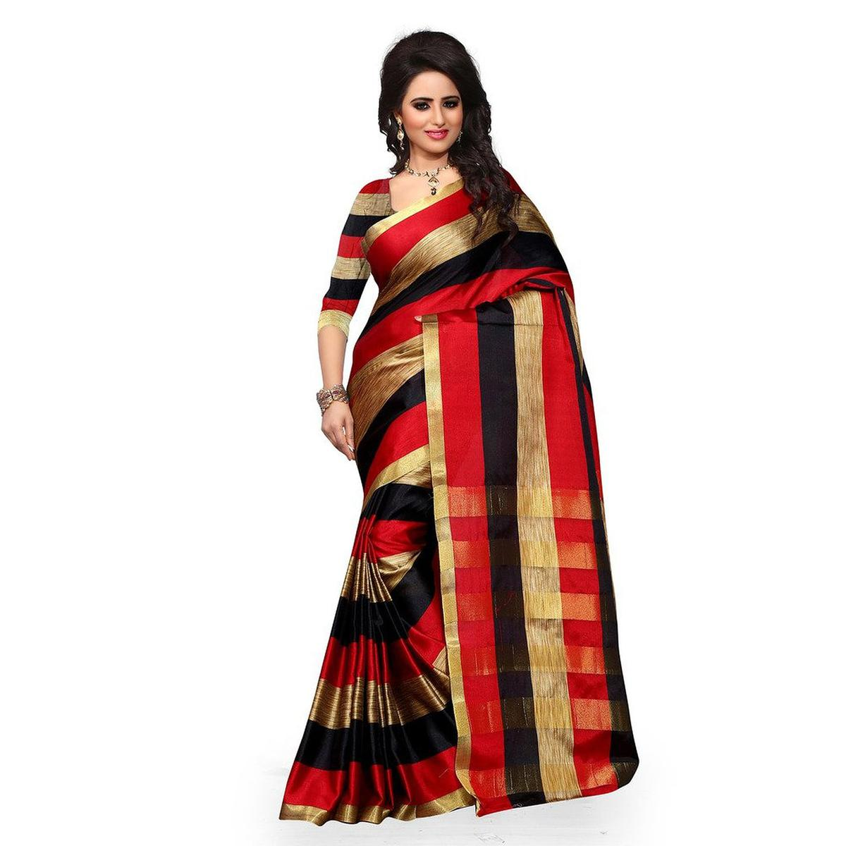 87ae6ec306ad6 Buy Red - Black Tussar Silk Woven Saree online India