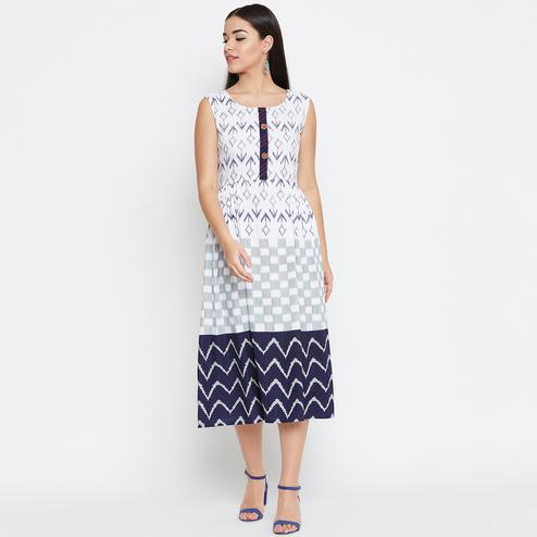 Impressive White Colored Casual Wear Printed Rayon Long Kurti