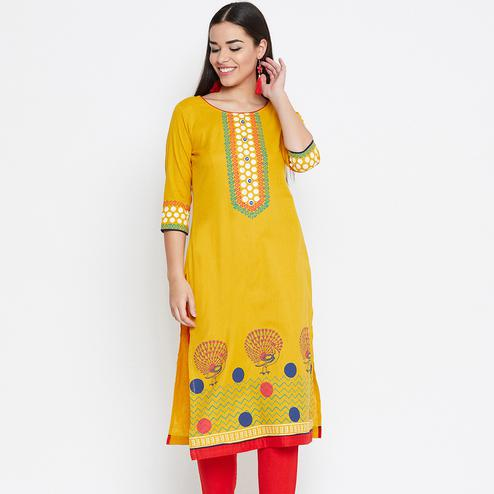 Intricate Yellow Colored Casual Wear Printed Cotton Kurti