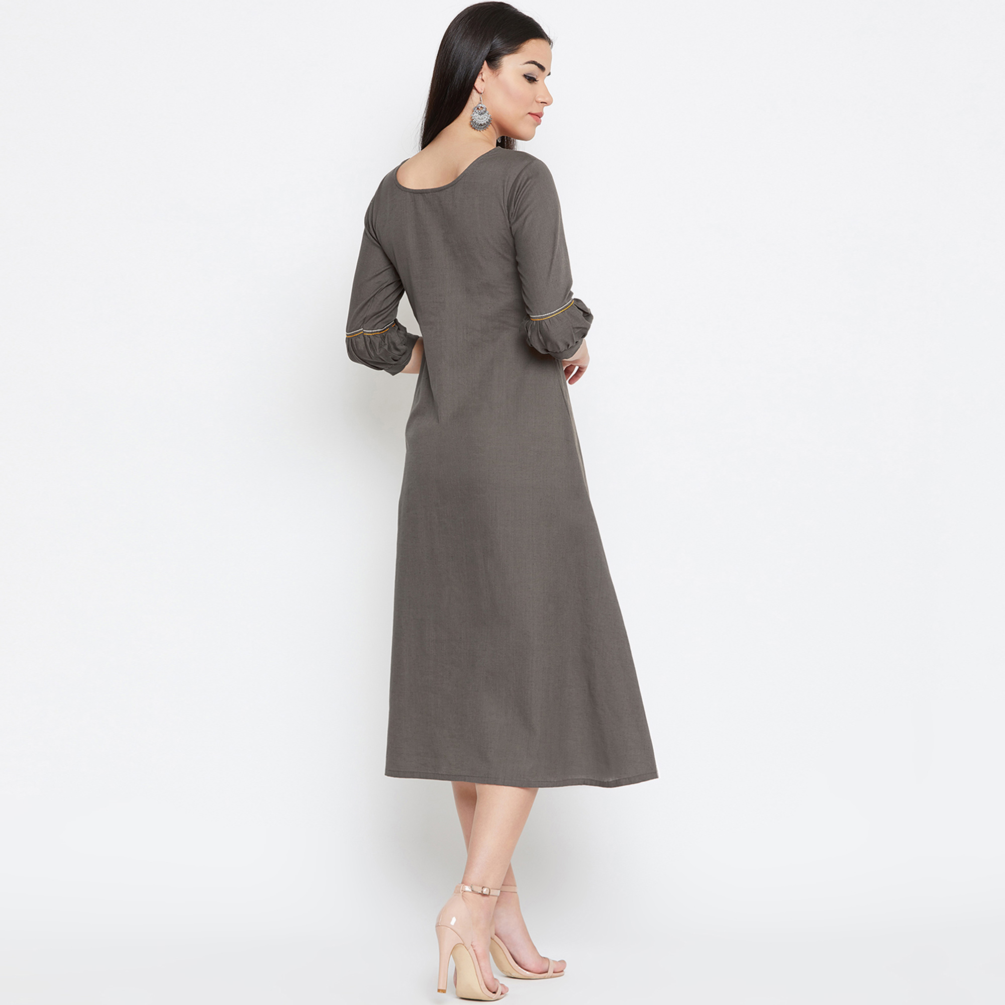 Arresting Grey Colored Casual Wear Embroidered Cotton Kurti