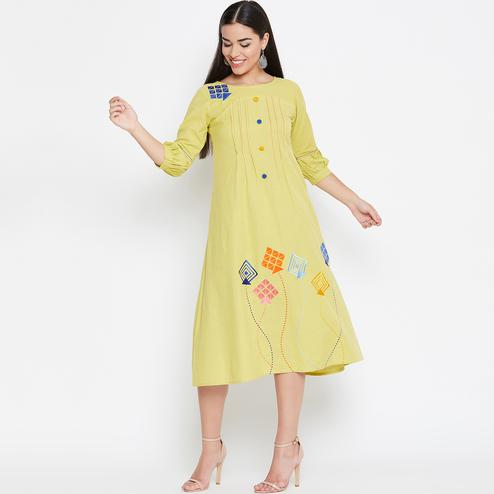 Desirable Light Yellow Colored Casual Wear Embroidered Cotton Kurti