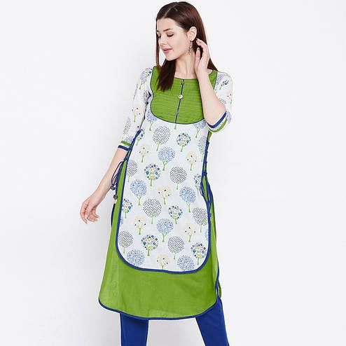 Exotic Multi Colored Casual Wear Printed Cotton Kurti