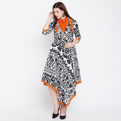 Trendy Black-White Colored Casual Wear Printed Cotton Long Kurti