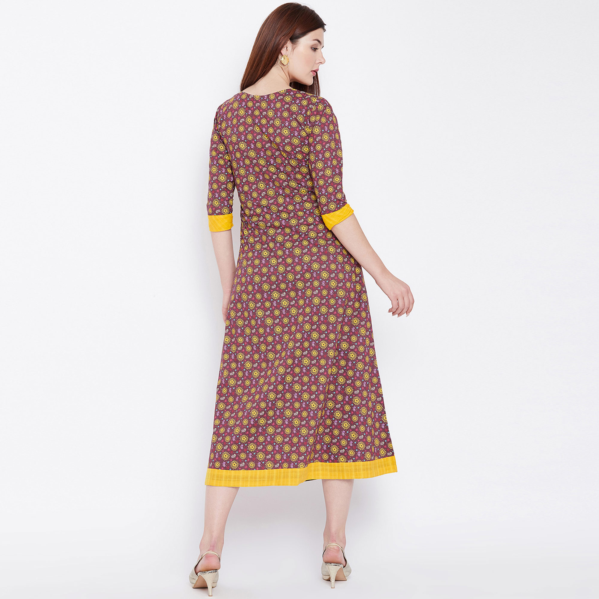 Radiant Mauve Colored Casual Wear Printed Cotton Long Kurti