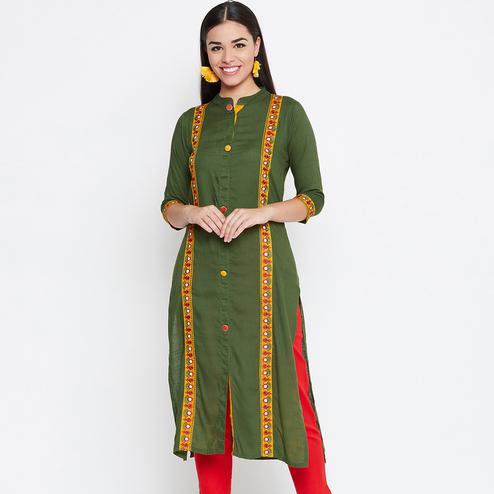 Pleasant Green Colored Casual Wear Embroidered Rayon Kurti
