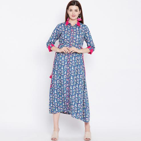 Energetic Blue Colored Casual Wear Printed Rayon Kurti