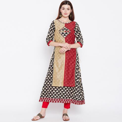 Glowing Multi Colored Casual Wear Printed Cotton Long Kurti