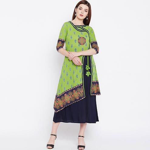 Gleaming Green Colored Casual Wear Printed Cotton Long Kurti
