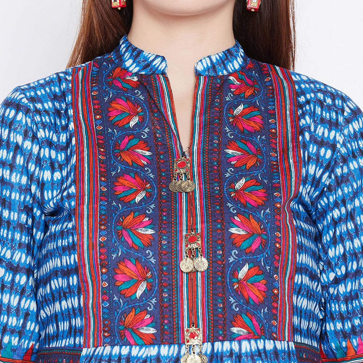 Mesmeric Blue Colored Casual Wear Printed Cotton Long Kurti
