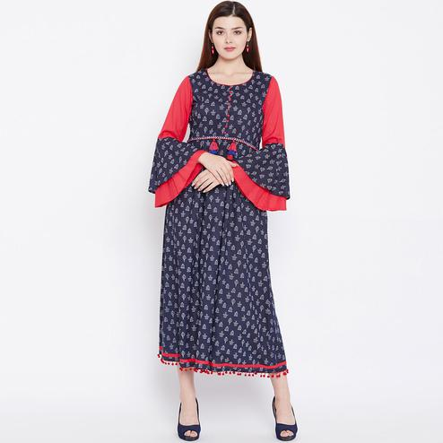 Unique Blue Colored Casual Wear Printed Cotton Long Kurti