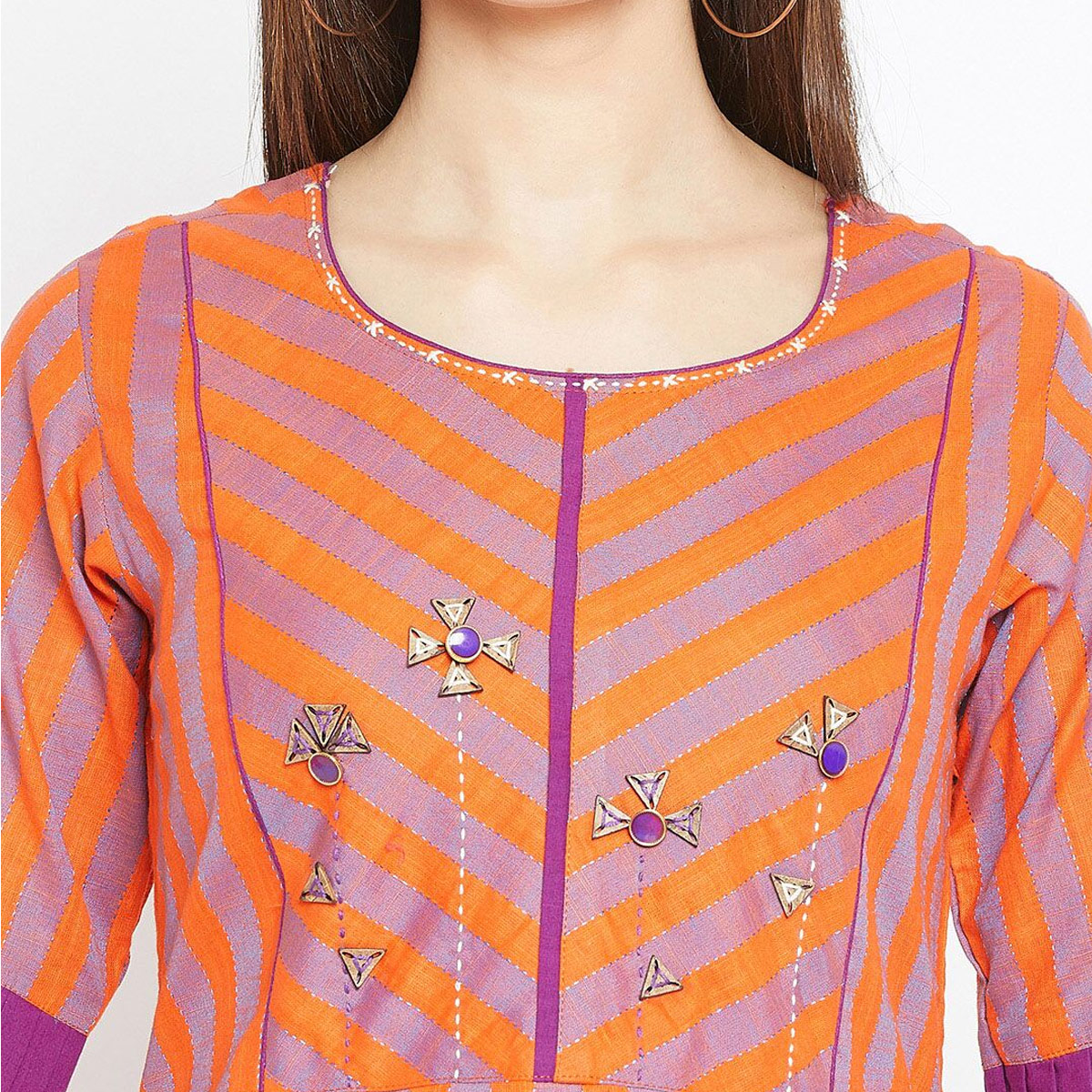 Demanding Purple-Orange Colored Casual Wear Printed Cotton Long Kurti