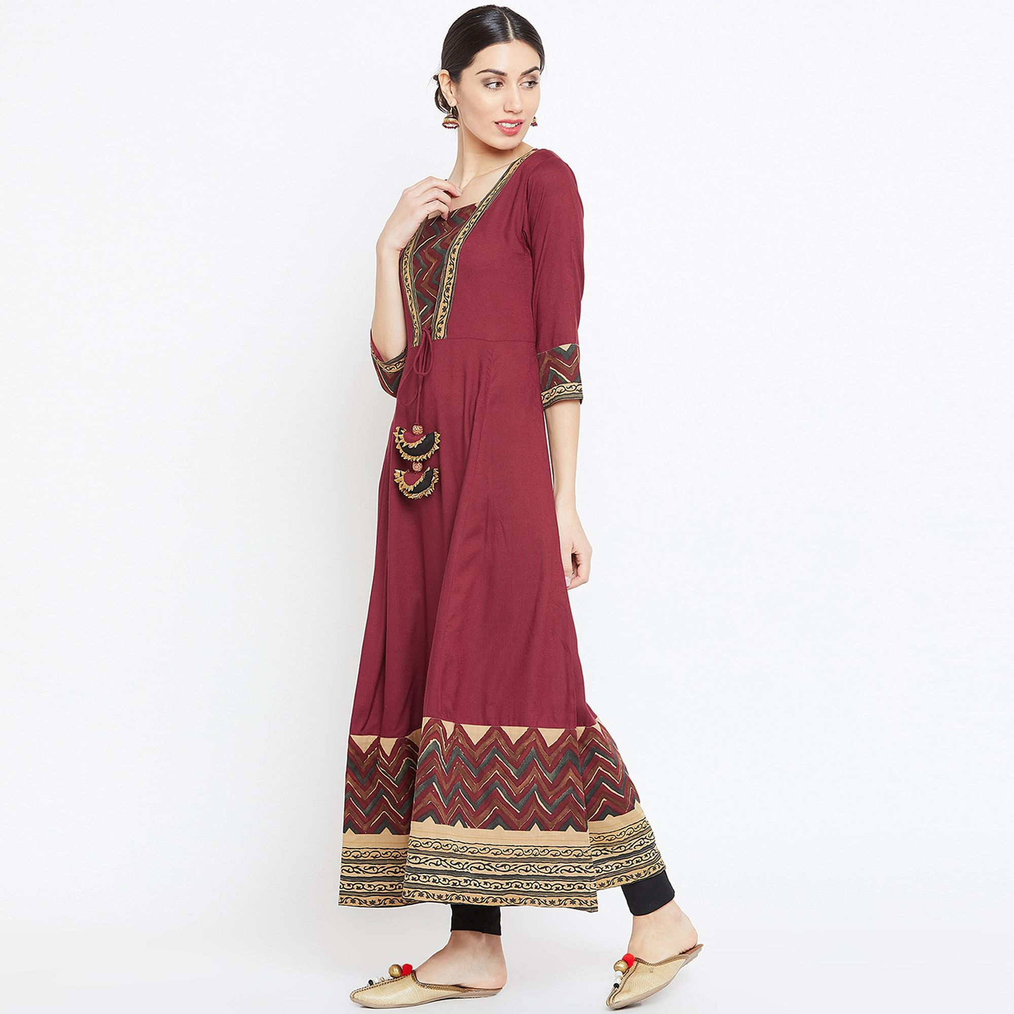 Magnetic Maroon Colored Casual Wear Printed Rayon Long Kurti