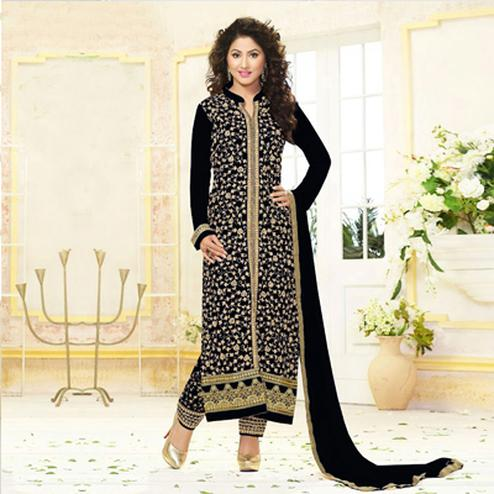 Black Front Slit Straight Suit