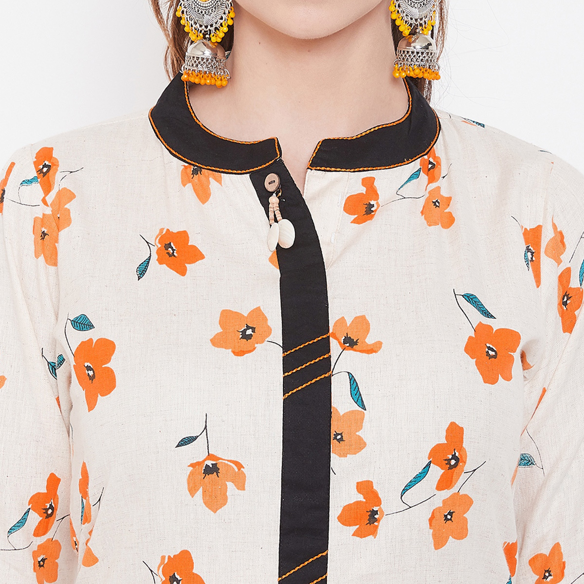 Hypnotic Off White Colored Casual Wear Printed Cotton Long Kurti
