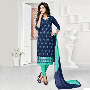 Blue Embroidered Work Dress Material