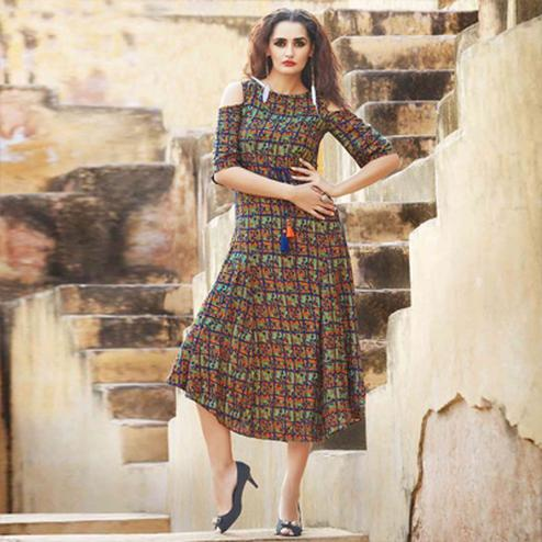 Multi Color Off Shoulder Kurti with Tassels